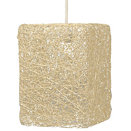 Abaca Beige Twine Square Pendant Light Shade (D)177mm