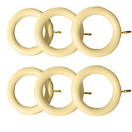 Colours Classic Cream Wood Curtain ring (L)160mm (Dia)35mm, Pack of 6