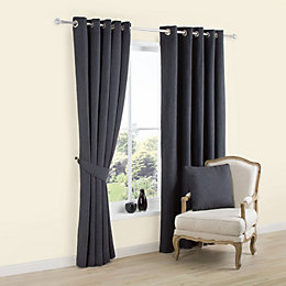 Carina Charcoal Plain Woven Eyelet Lined Curtains (W)117