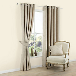 Carina Ecru Plain Textured Eyelet Lined Curtain (W)167