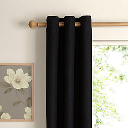 Carina Charcoal Plain Woven Eyelet Lined Curtains (W)228