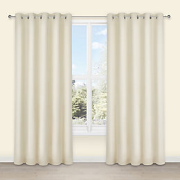 Salla Ecru Plain Woven Eyelet Lined Curtains (W)167