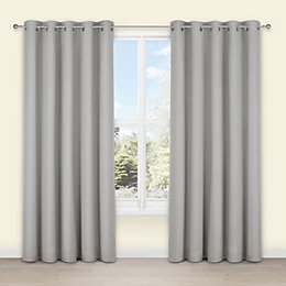 Salla Concrete Plain Woven Eyelet Lined Curtains (W)228