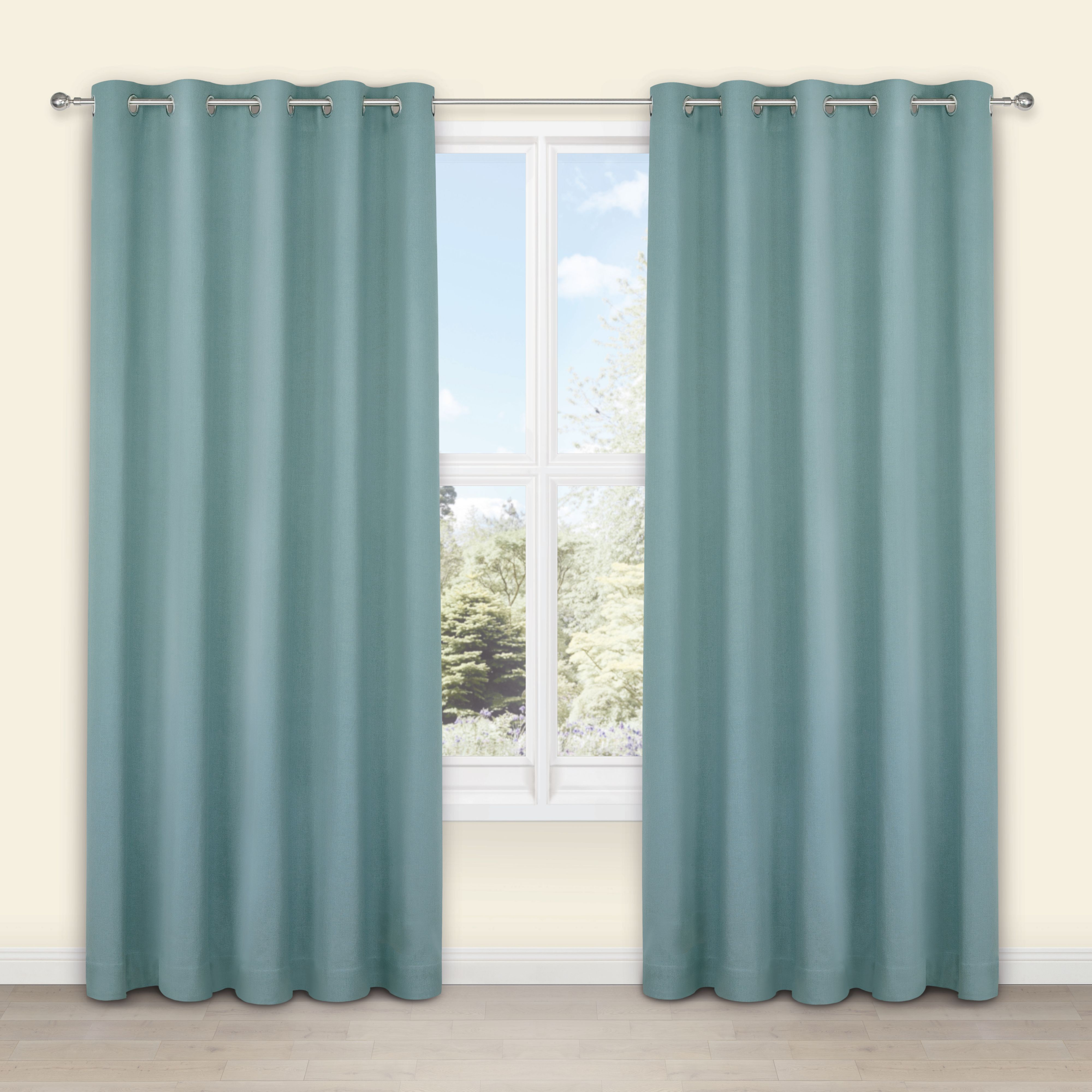 Salla Duck Egg Plain Woven Eyelet Lined Curtains (W)228 cm (L)228 ...