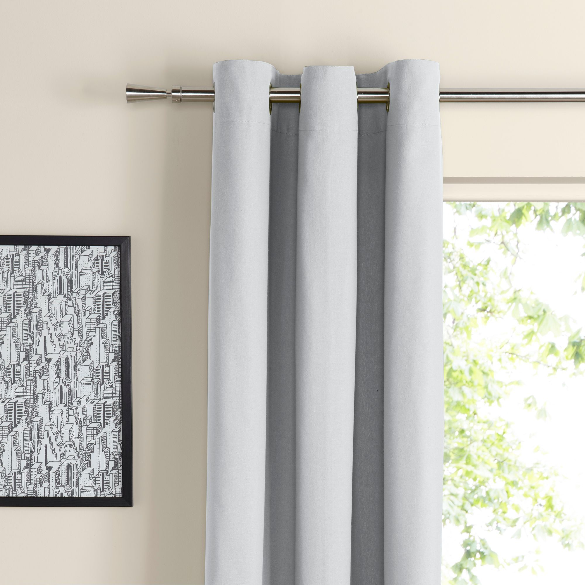 Zen Ecru Plain Eyelet Curtains W 167 Cm L 183 Departments