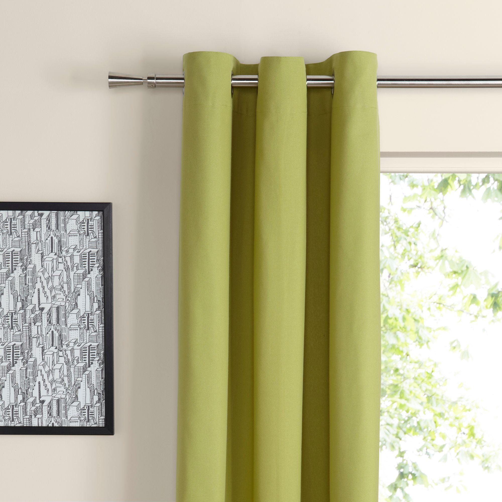 Zen Lime Plain Eyelet Curtains (W)167 cm (L)183 cm | Departments | DIY at B&Q.