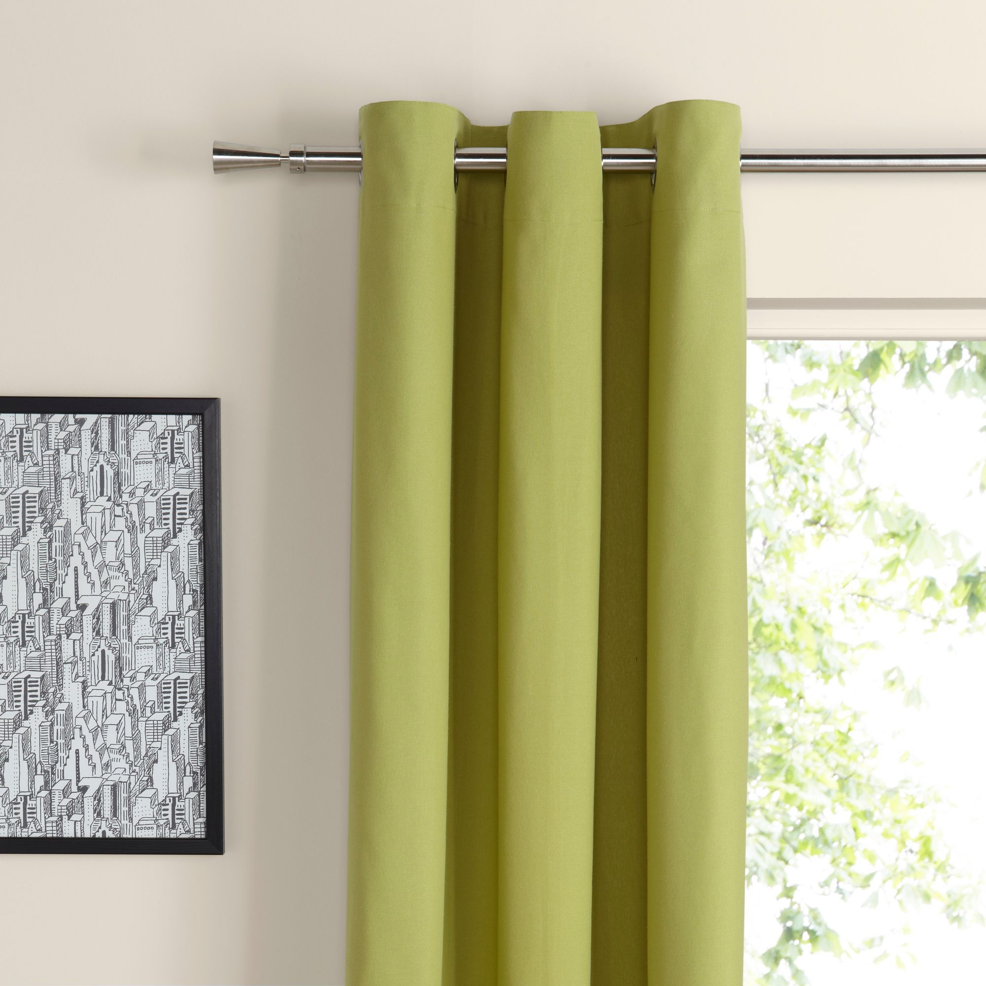 Zen Lime Plain Eyelet Curtains W 167 Cm L 228 Departments