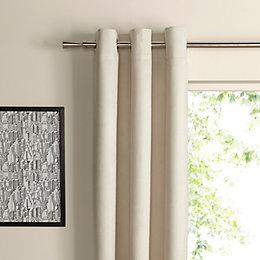 Suedine Ecru Plain Woven Eyelet Curtains (W)228 cm