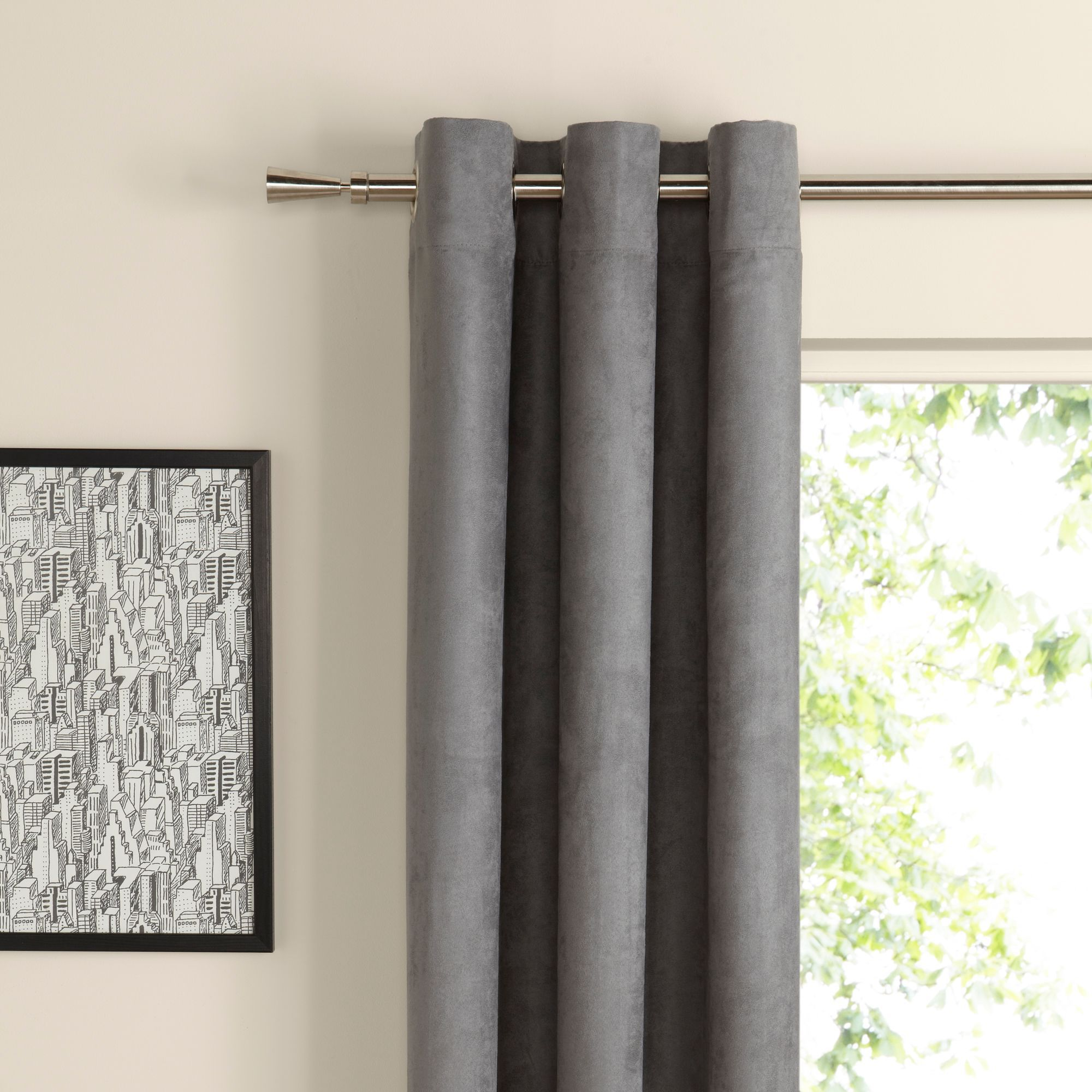 Suedine Concrete Plain Woven Eyelet Curtains (W)228 cm (L)228 cm |  Departments | DIY at B&Q