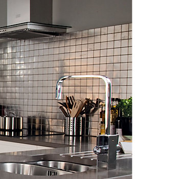 Silver Stainless Steel Mosaic Tile in kitchen