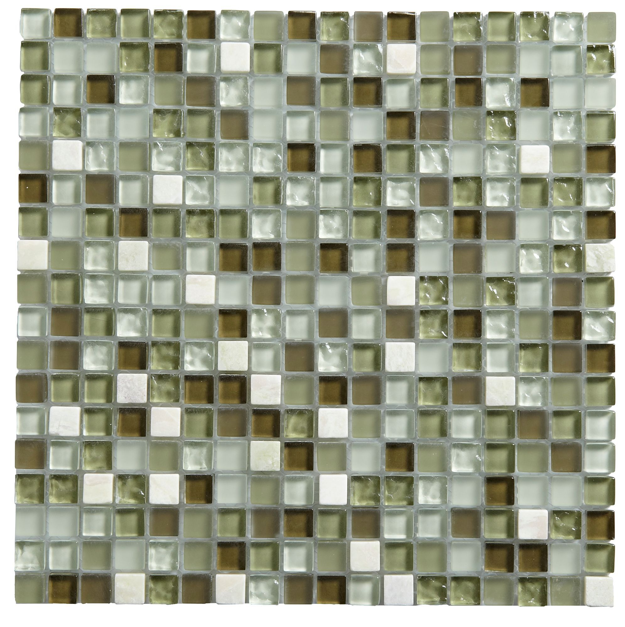Green Gl Marble Mosaic Tile L 300mm W Departments Diy At B Q