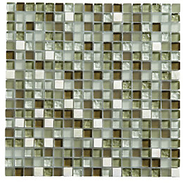 Green Glass & marble Mosaic tile, (L)300mm (W)300mm