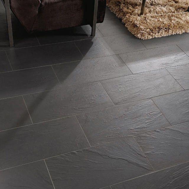 Slate Effect Black Matt Stone Porcelain Wall Floor Tile Pack Of 6 L 300mm W 600mm Departments Diy At B Q