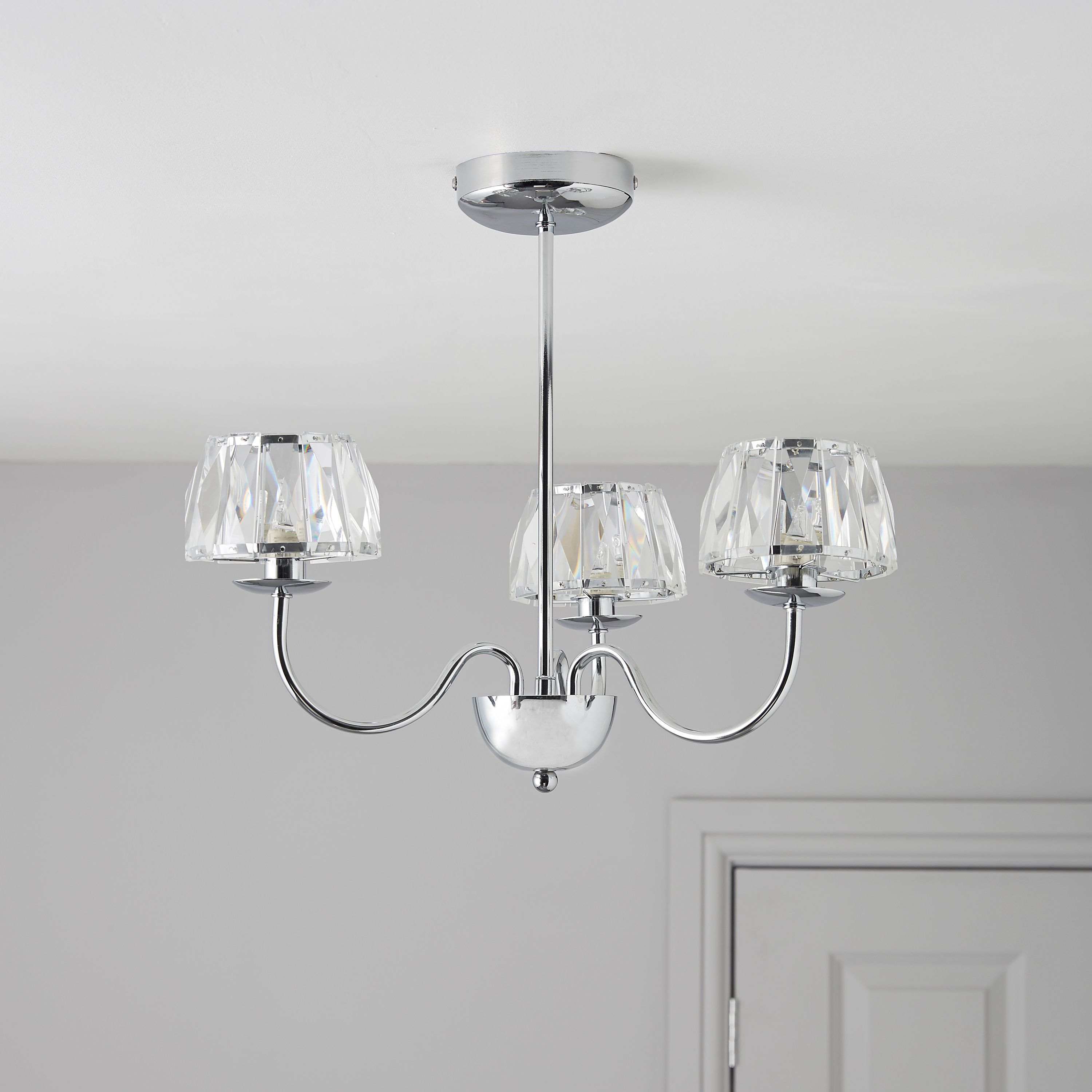 Waldor faceted glass chrome effect 3 lamp pendant ceiling light waldor faceted glass chrome effect 3 lamp pendant ceiling light departments diy at bq aloadofball Image collections
