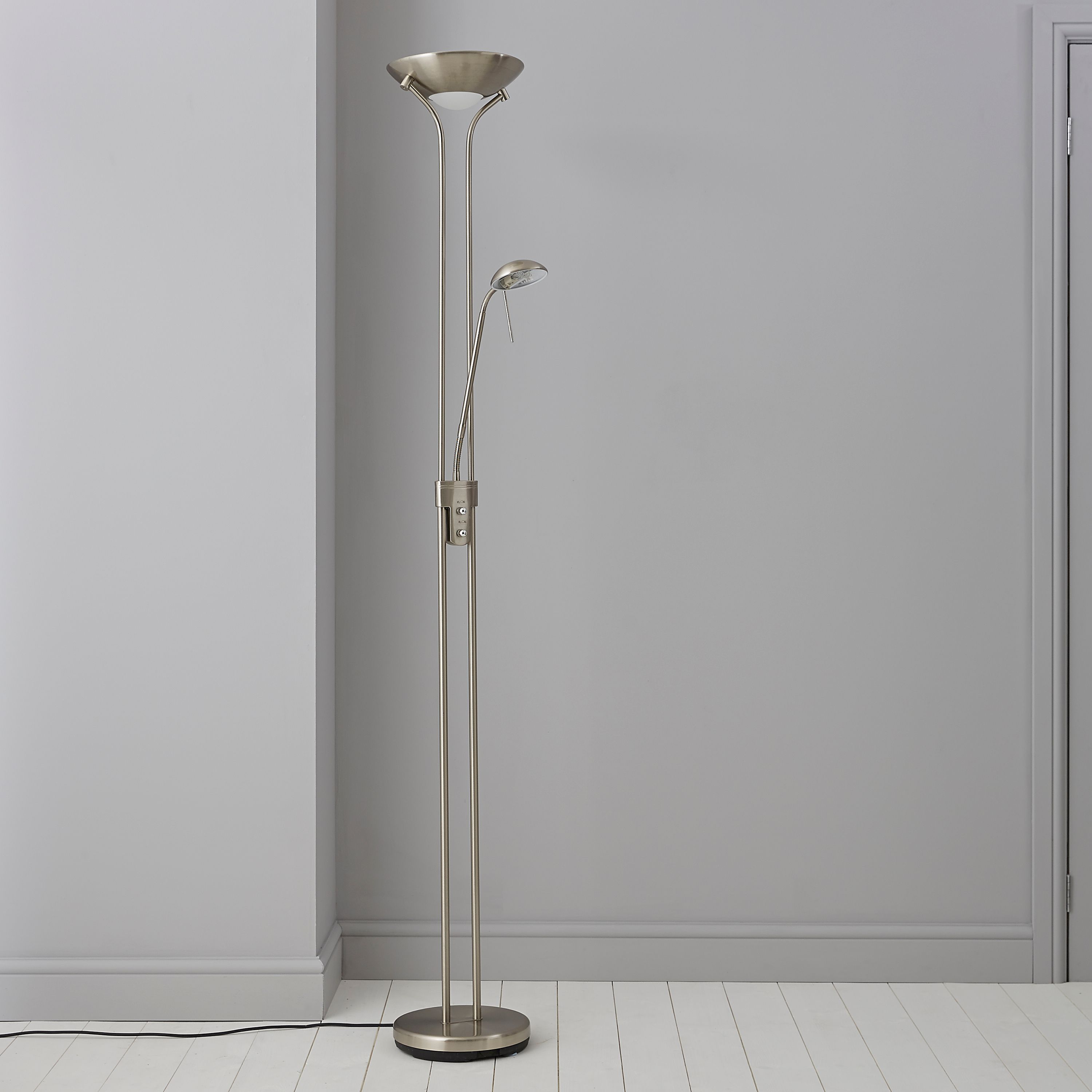 Mericourt silver chrome effect floor lamp departments diy at bq mozeypictures Image collections