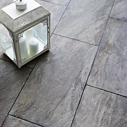 Indus Dark grey Stone effect Porcelain Wall &
