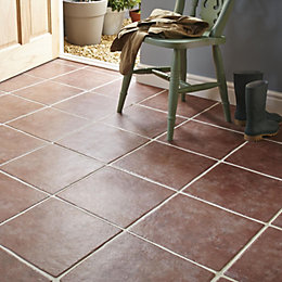 Calcuta Red Stone Effect Ceramic Floor Tile, Pack