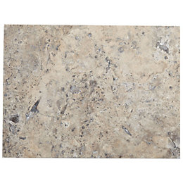 Honed & filled Grey Natural stone effect Travertine