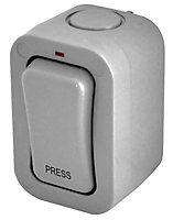 Diall 1-Gang 1-Way 20A External Single Press Retractive Outdoor Switch