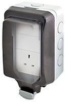 Diall Grey Raised Unswitched Socket