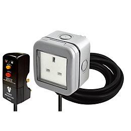Diall Grey Raised Outdoor Socket & RCD Plug