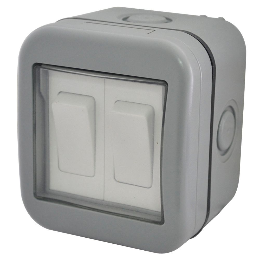 Diall 2-Gang 2-Way 10A External Double Outdoor Switch | Departments ...