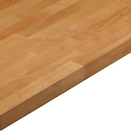 40mm Square edge Solid beech Worktop (L)3m (D)600mm