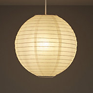 White Ribbed ball Light shade (D)300mm