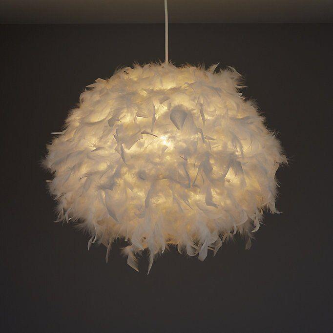 Modern White Feather Ceiling Pendant Light Ball Chandelier Lighting Lamp Shade