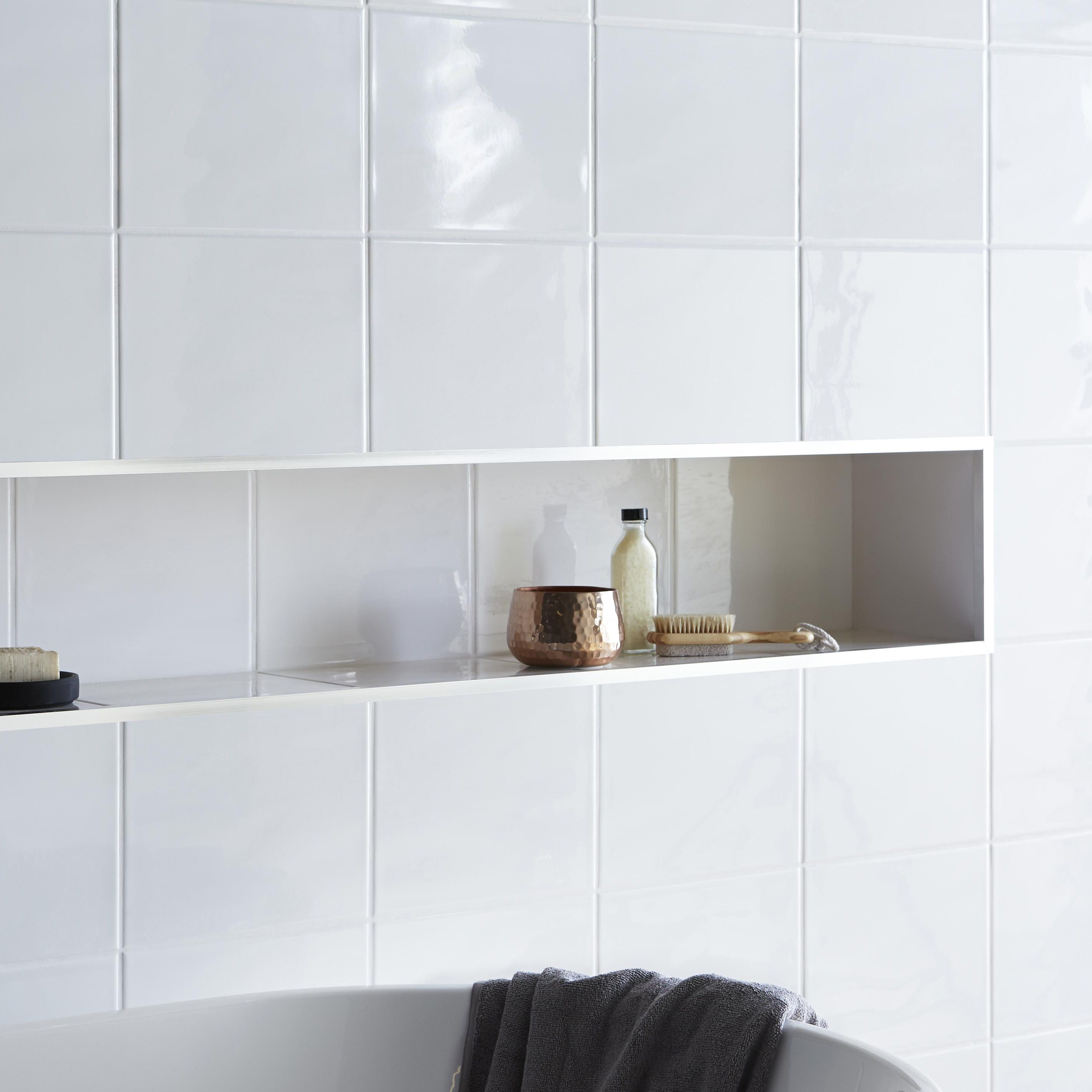 Holborn white ceramic wall tile pack of 20 l 250mm w B q bathroom design service