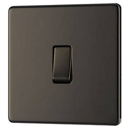 Colours 10A 2-Way Single Black nickel Light switch