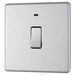 Colours 20A Double pole Brushed steel Switch with