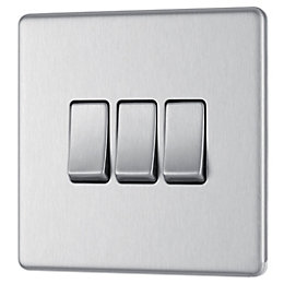 Colours 10A 2-Way Triple Brushed Steel Light Switch