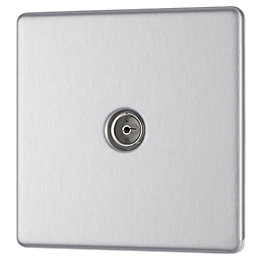 Colours Flat Screwless Screwless Brushed Steel Metal Single