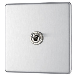 Colours 10A 2-Way Single Brushed steel Toggle switch