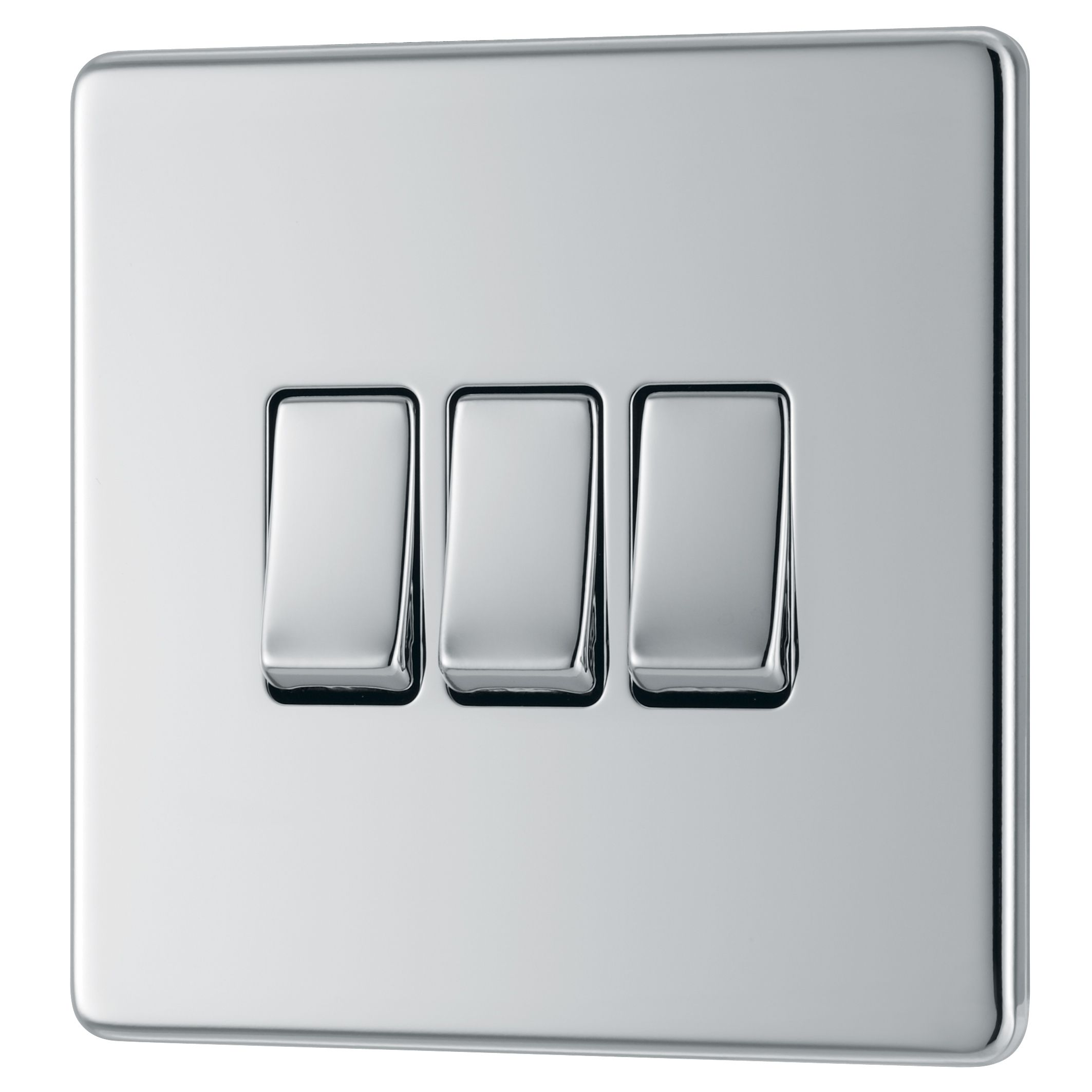 Colours 10A 2-Way Triple Polished chrome Light switch   Departments ...