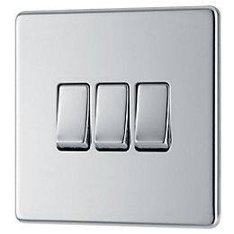 Colours 10A 2-Way Triple Polished chrome Light switch