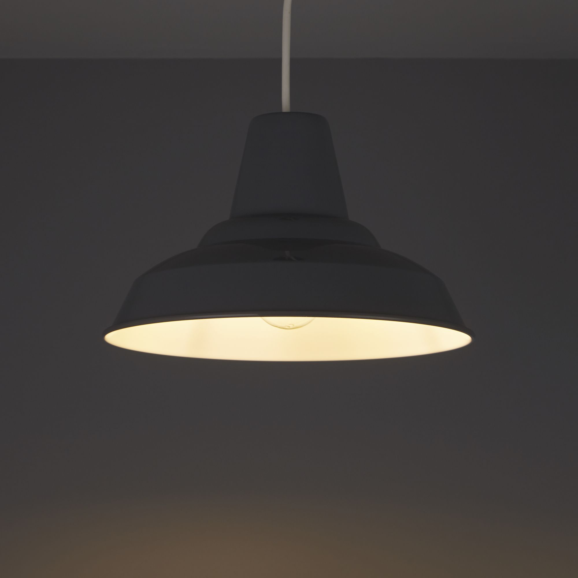 Colours Tezz Anthracite Gloss Pendant light shade (D)290mm