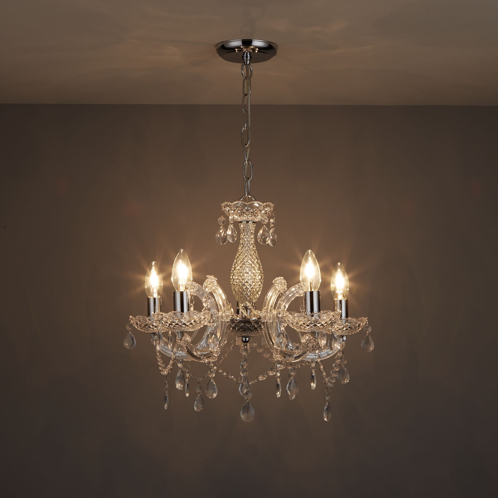 Annelise Crystal droplets Silver 5 Lamp Pendant ceiling