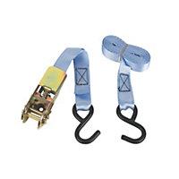 Pale blue 3m Ratchet tie-down strap with hook