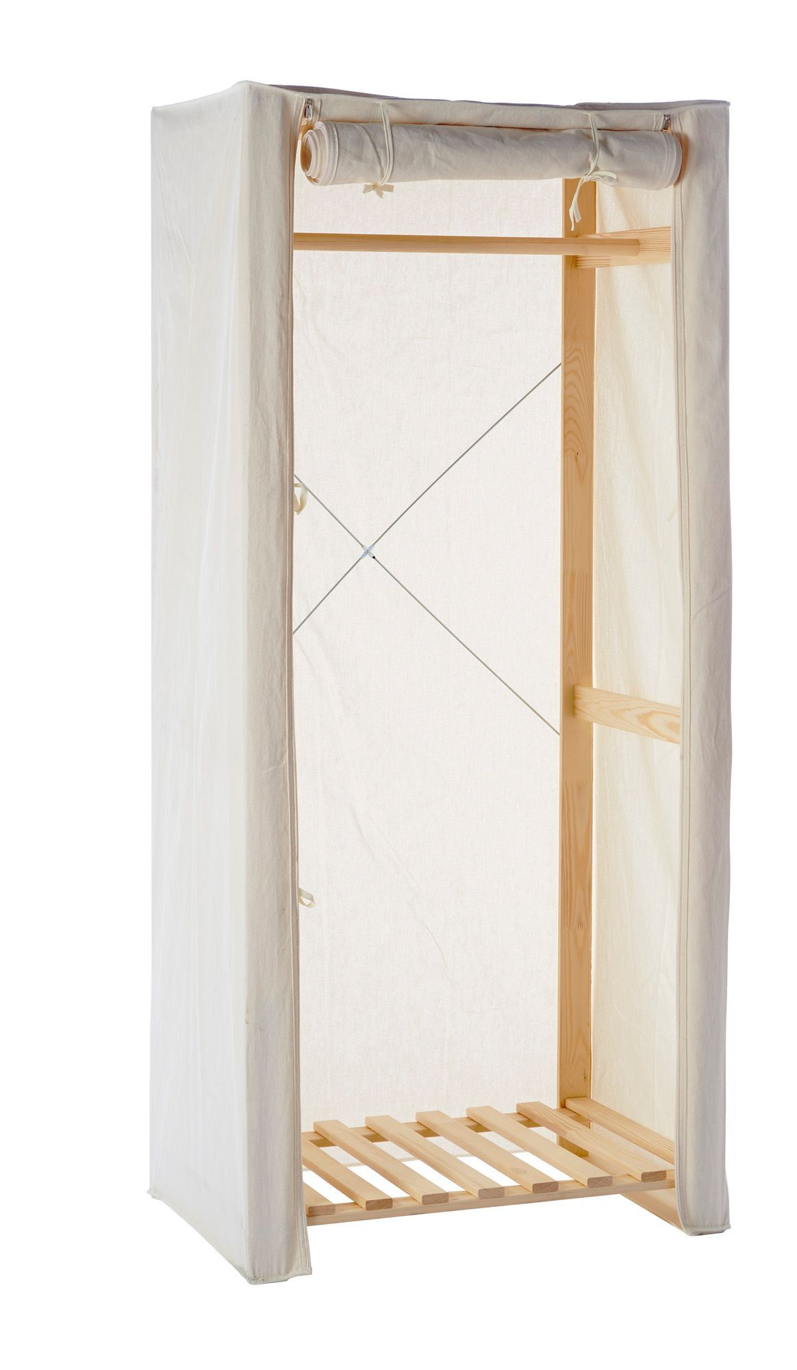 White Single Canvas Wardrobe H 172mm W 750mm