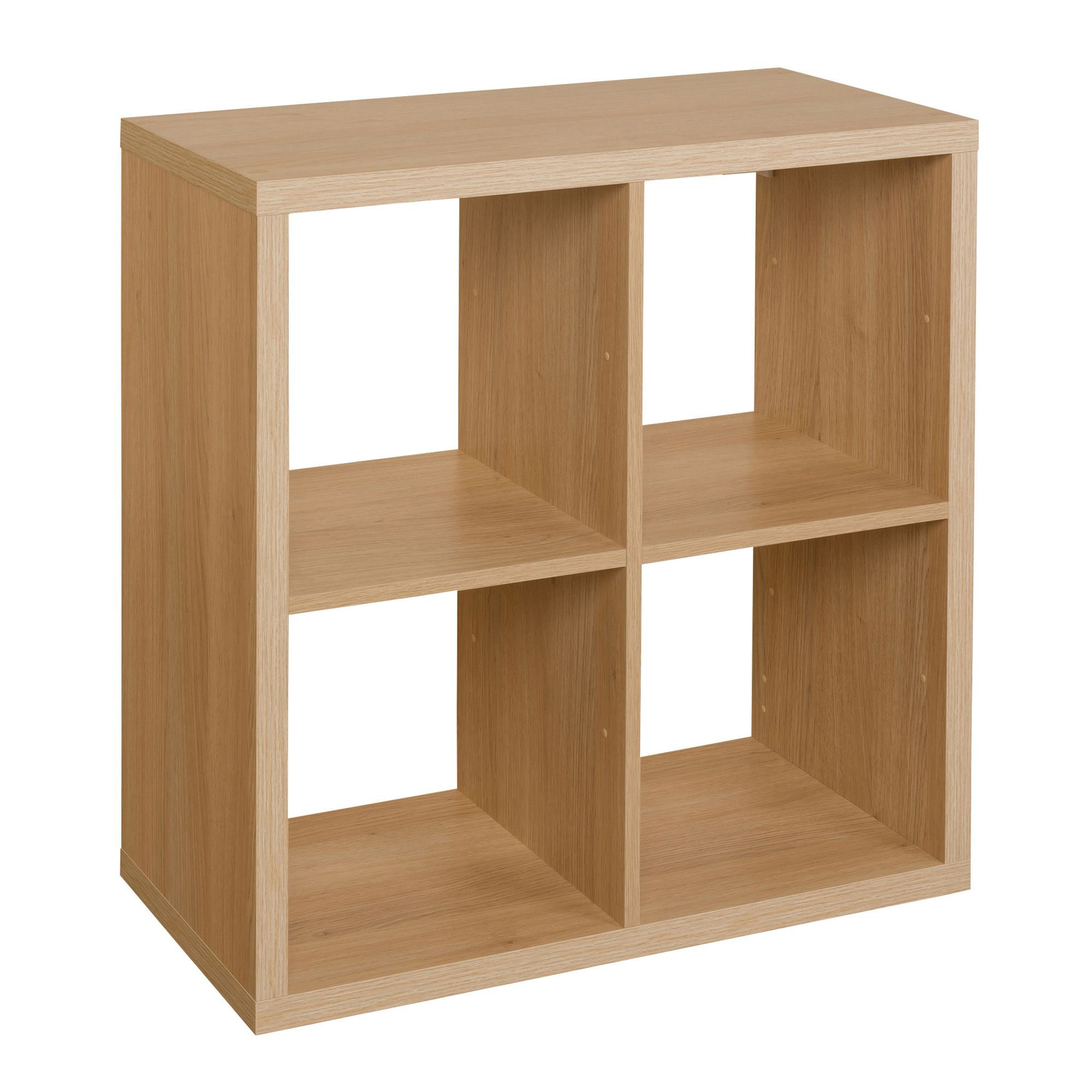 cube storage shelves form mixxit oak effect 4 cube shelving unit h 736mm 28872