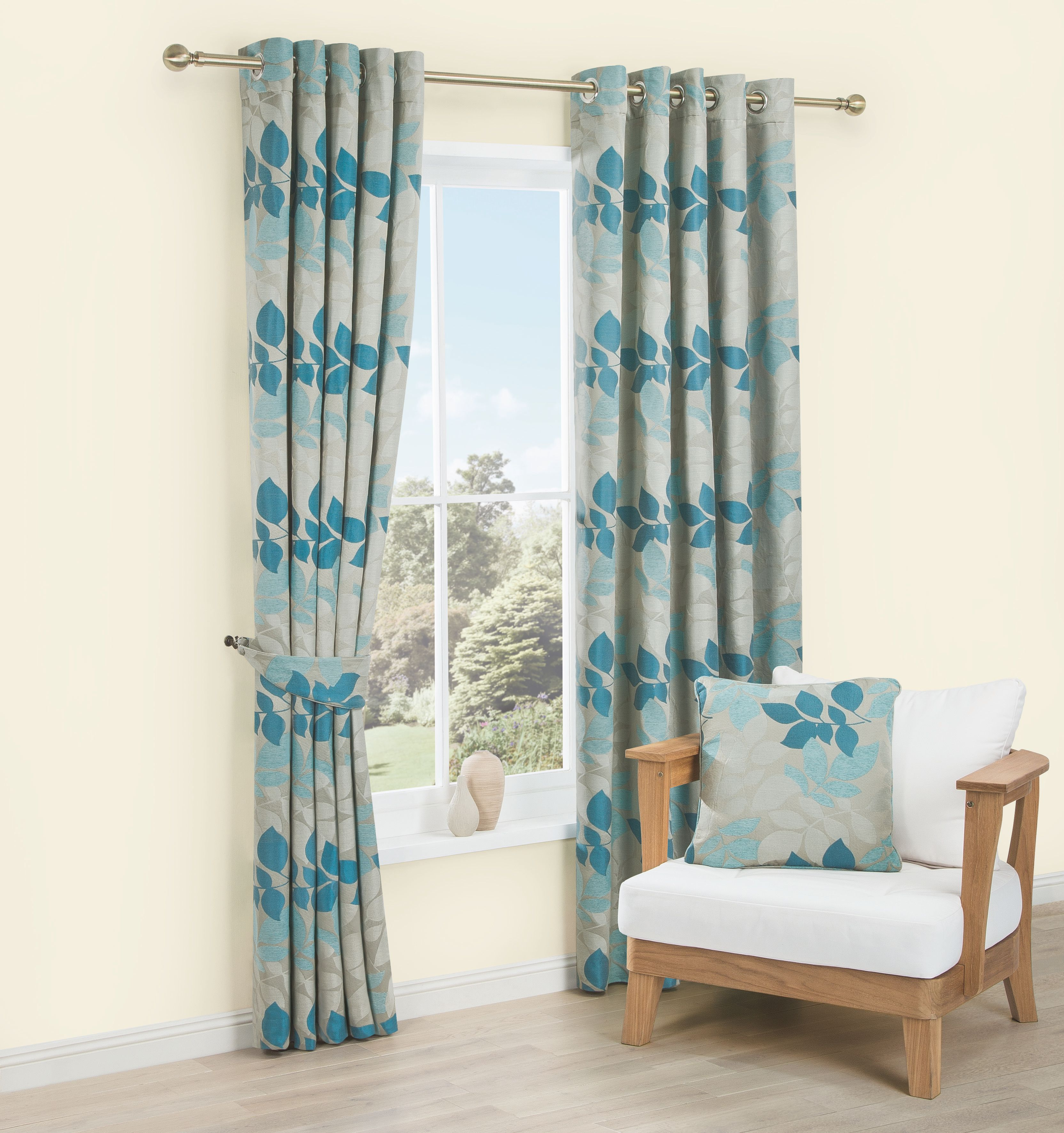 Araxa Duck Egg & Taupe Leaves Jacquard Woven Eyelet Lined Curtains (W)167  cm (L)228 cm | Departments | DIY at B&Q