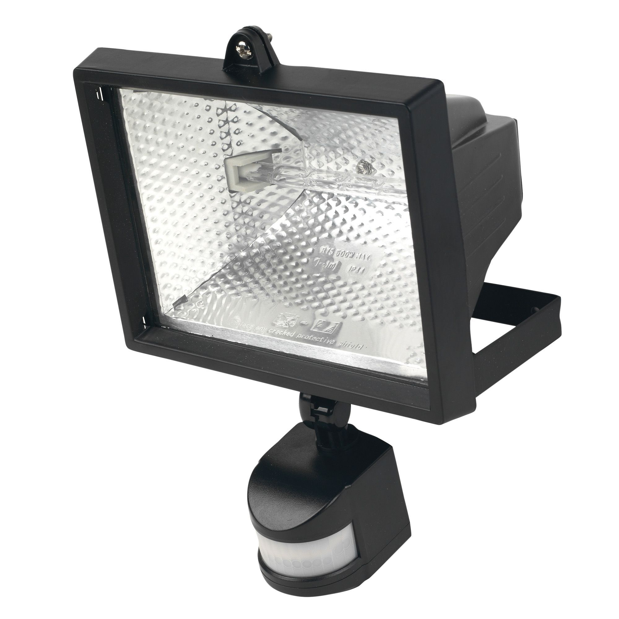 Outdoor Lamp Post B Q: Black 400W Mains Powered PIR Floodlight