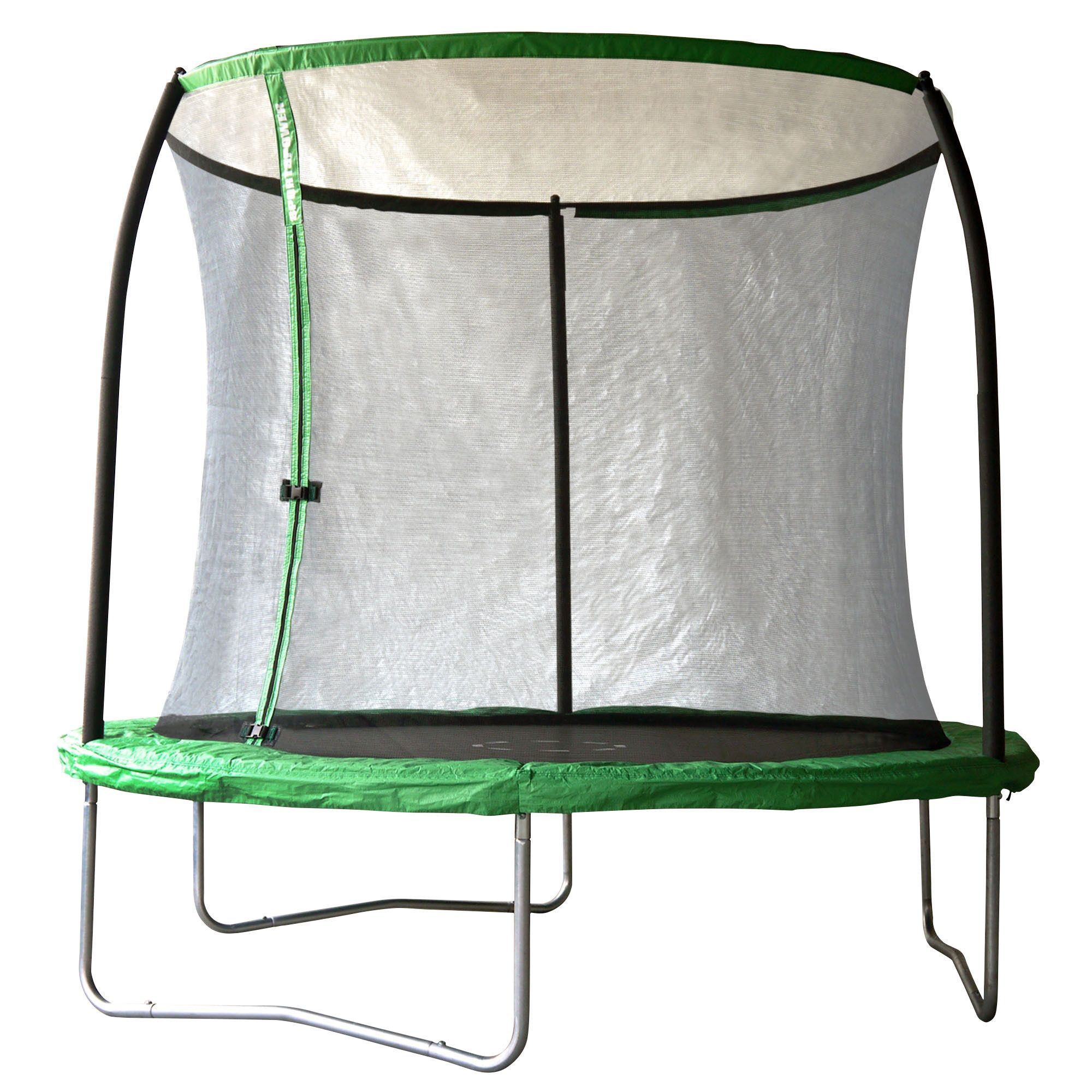 Trampoline Springs B Q: Black & Green 8 Ft Trampoline With Enclosure