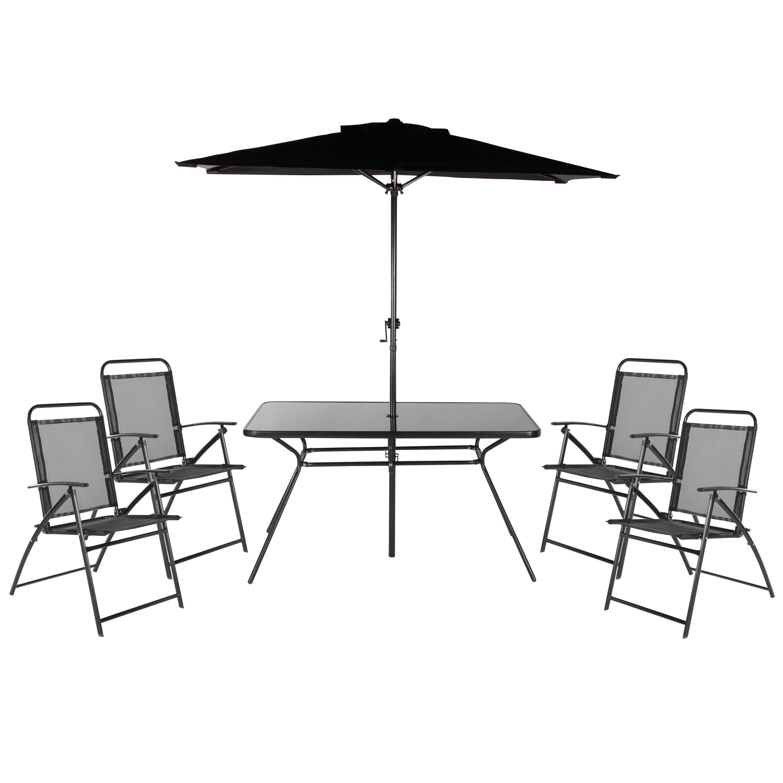 Bahama Metal 4 Seater Dining Set Parasol