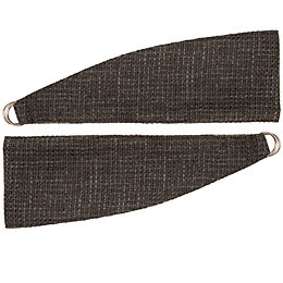 Colours Carina Charcoal Woven Curtain Tie Backs, Pack