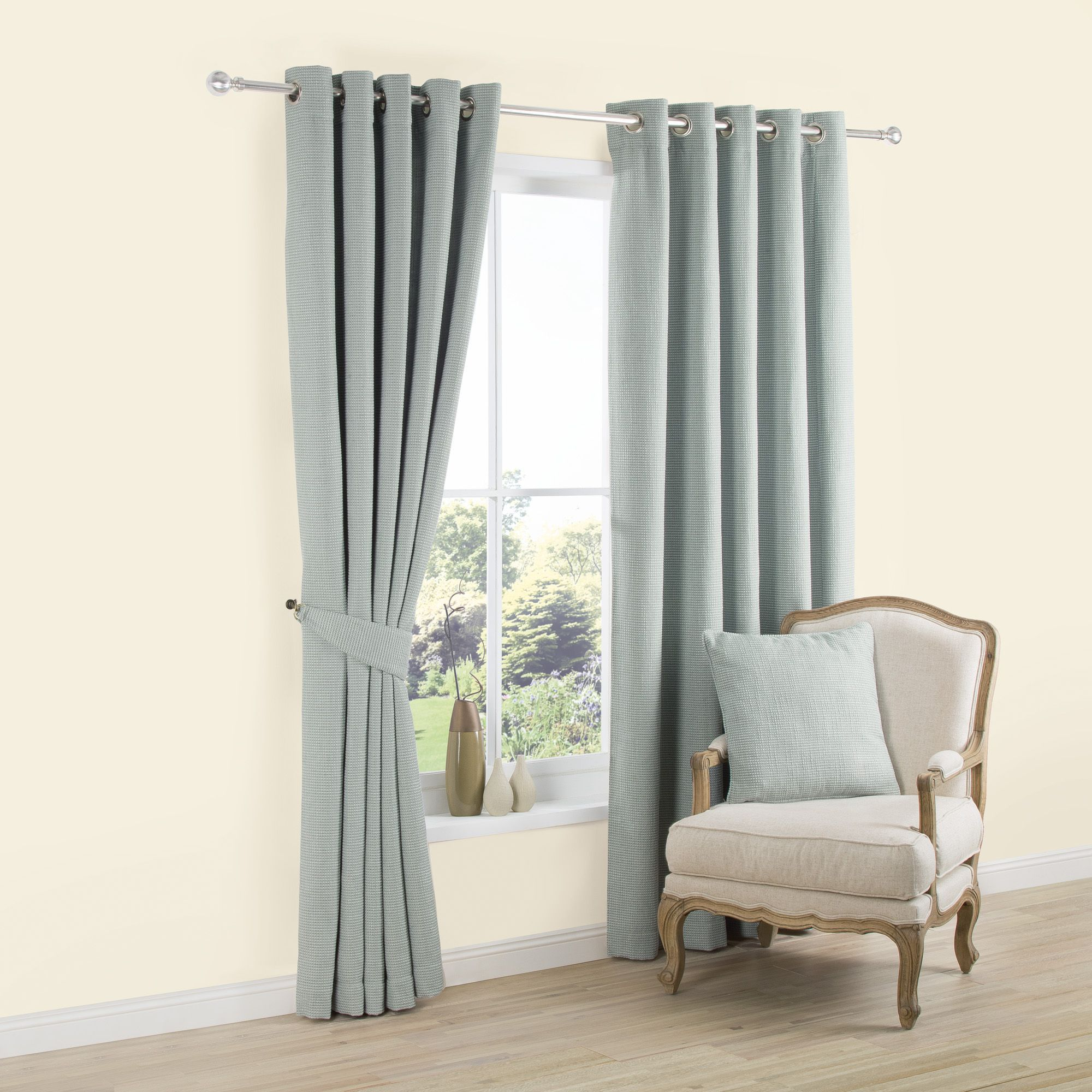 Carina Duck Egg Plain Woven Eyelet Lined Curtains