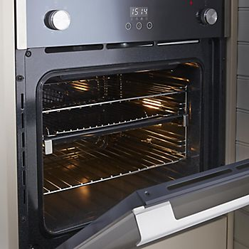 Built-in single oven with door open