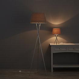 Jake Tripod Chrome Floor & Table Lamp Set